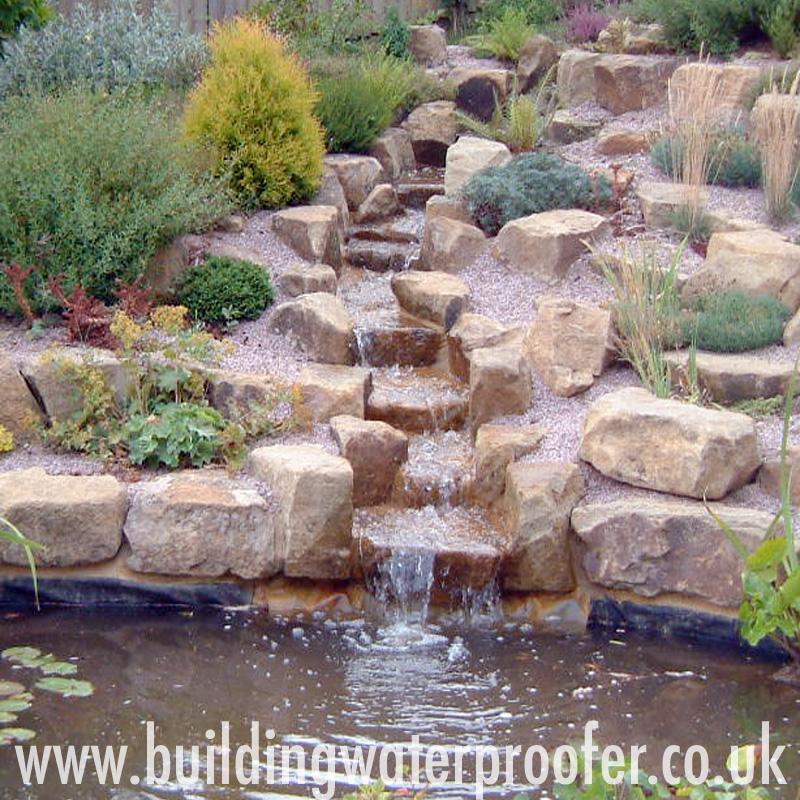 Waterproofing garden waterfalls